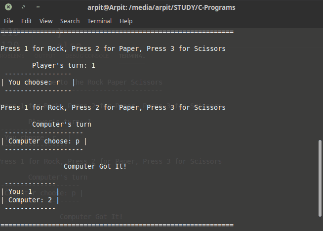 rock paper scissors game in c mini project output