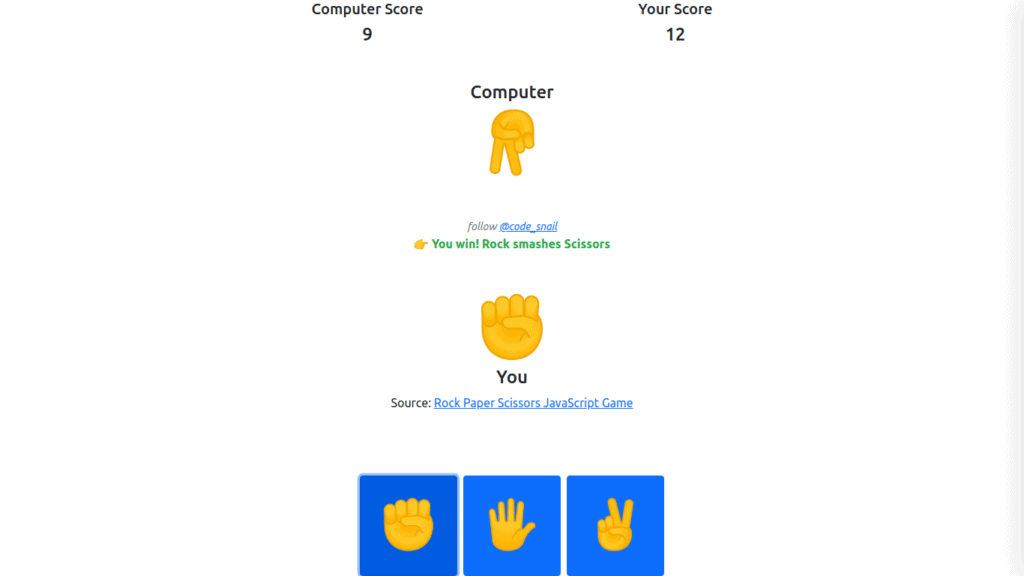 rock paper scissors javascript game, rock paper scissors game in javascript