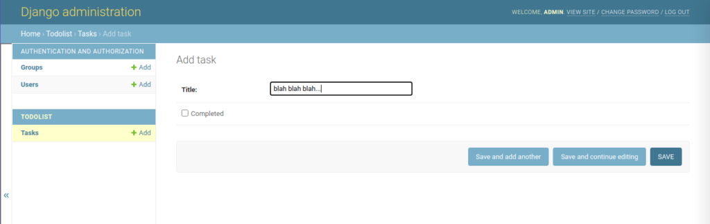 adding task from admin site