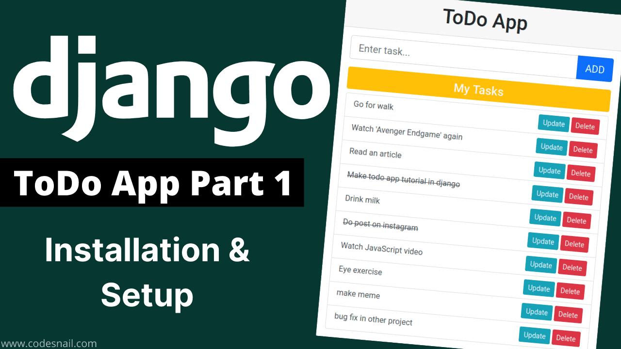 todo app in django part-1 django installat on and setup