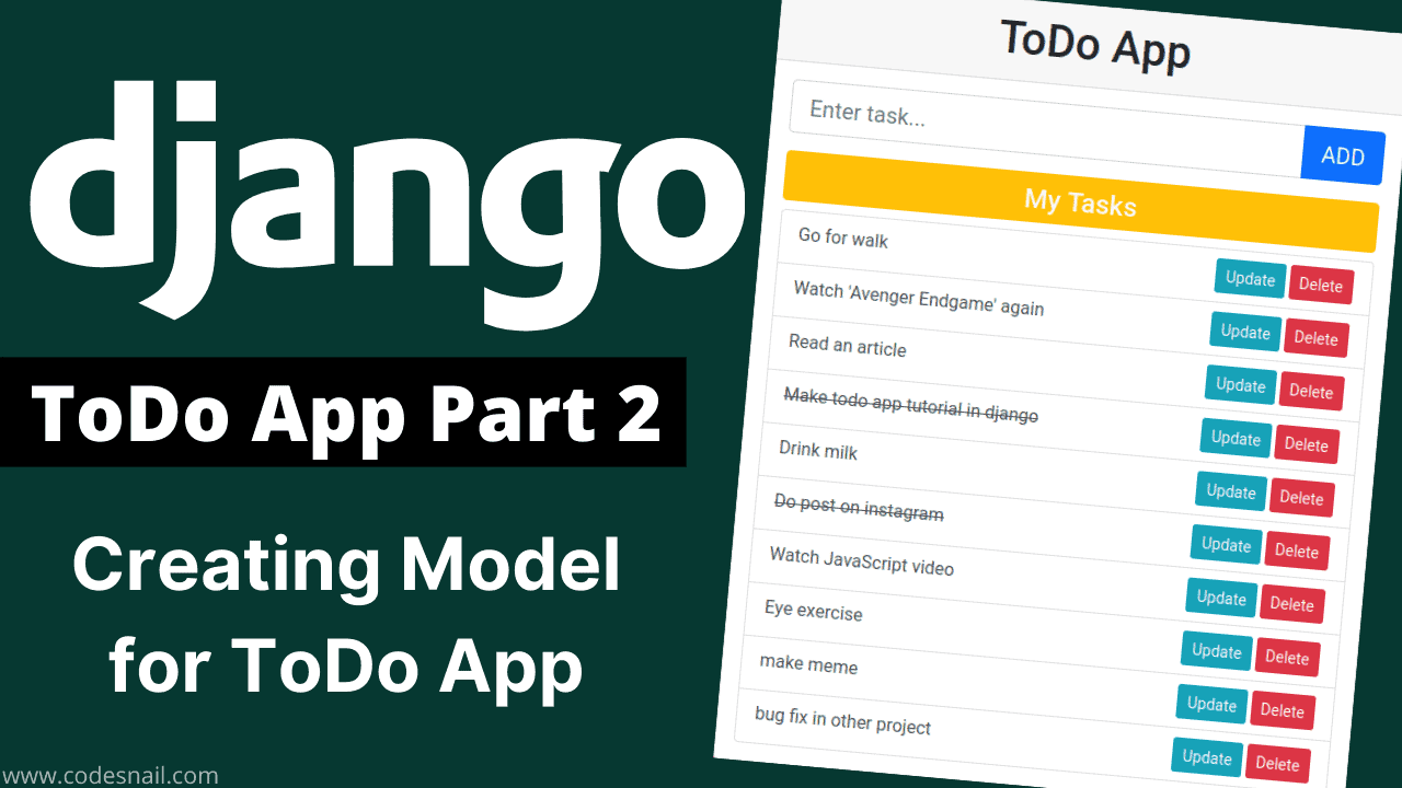 todo app in django part-2 creating model in django for todo app