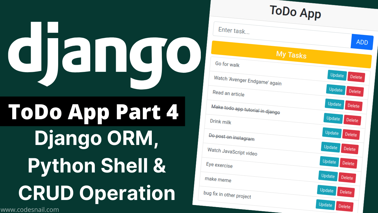 todo app in django part-4 django orm python shell crud operation