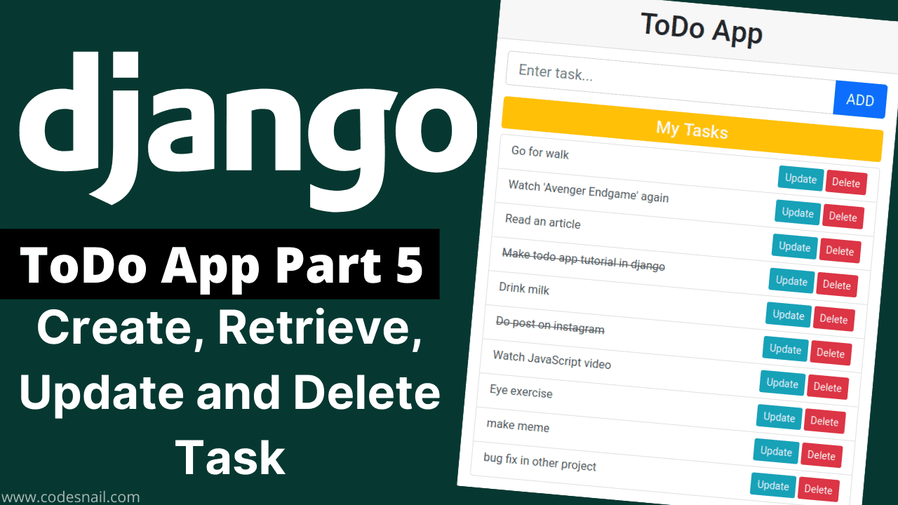 todo app in django part-5 create retrieve update and delete task crud operation in django