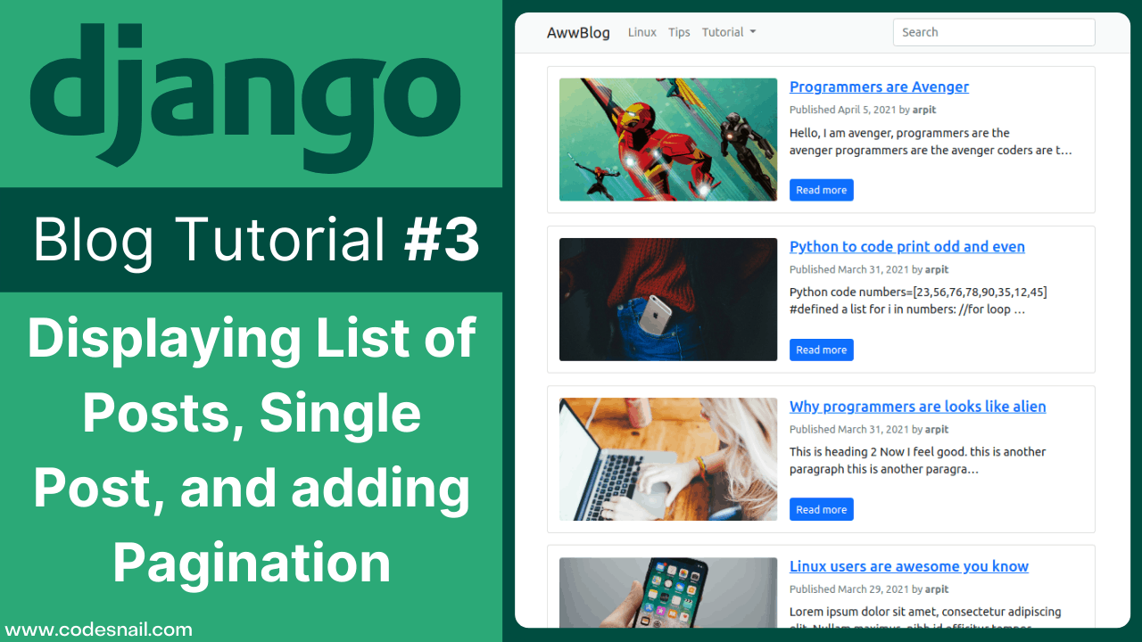 django blog tutorial displaying list of posts and single post and adding pagination django blog 3