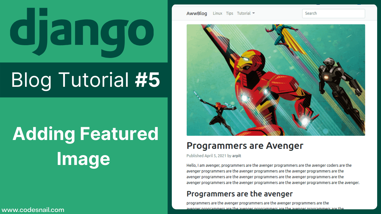 django blog tutorial adding featured image in post