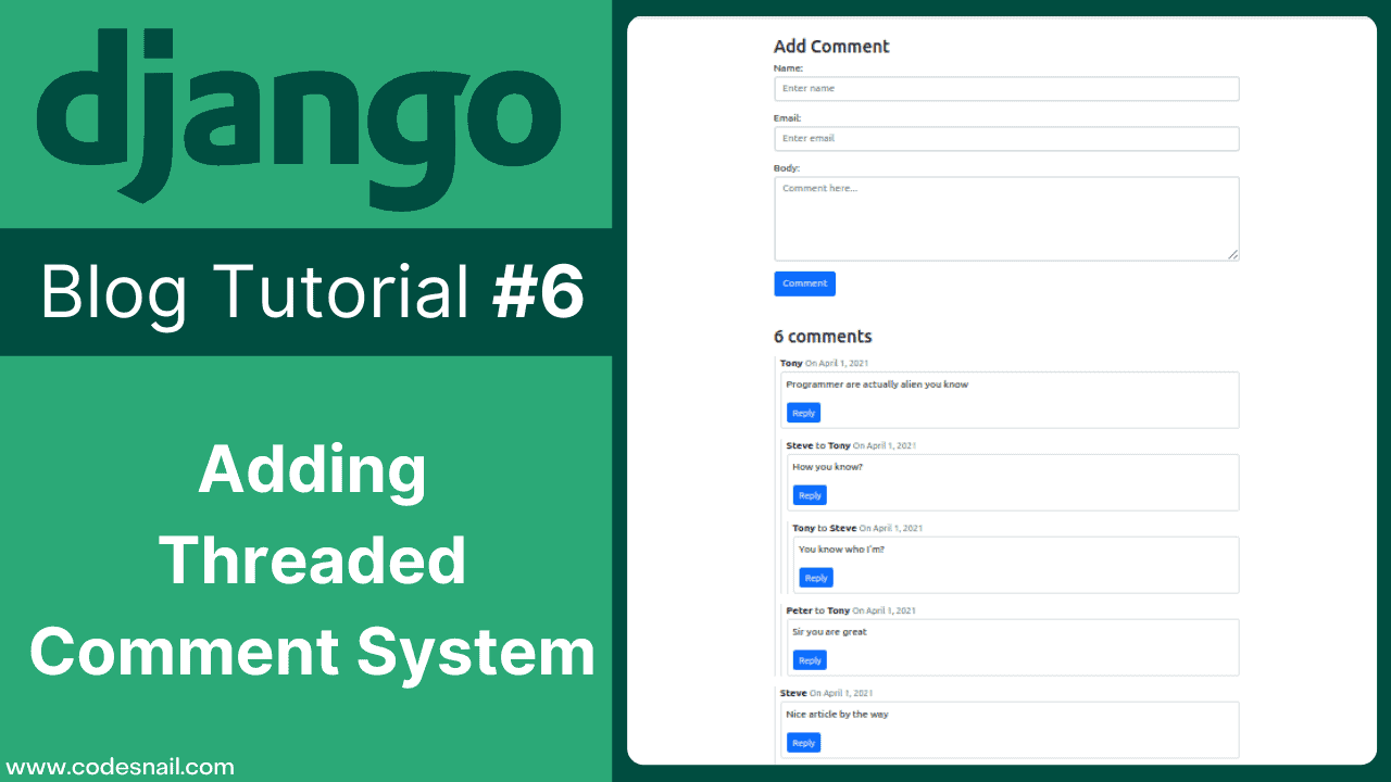 django blog tutorial adding threaded comment system in django django blog 6
