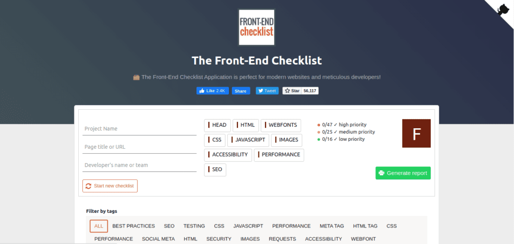 the front end checklist web development tools for front-end developers